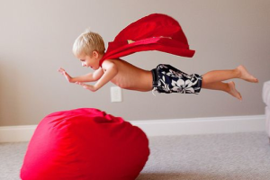 Bean bags away from Jumping kids